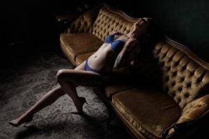 tattoos toronto boudoir studio vintage redhead pose